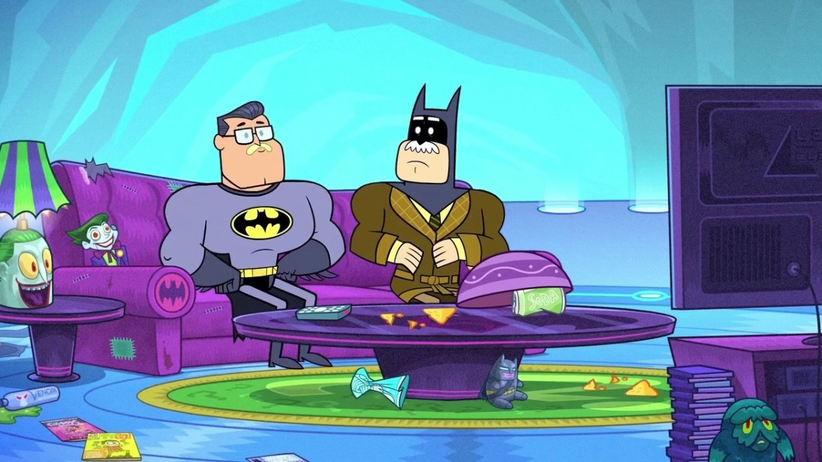 Batman and Commissioner Gordon watch Teen Titans Go!