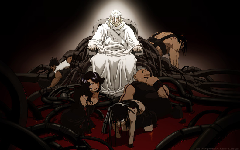 Father on his throne with seven deadly sins (children) lying around at his feet.
