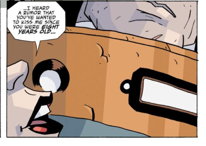 A comic panel in The Umbrella Academy with Allison whispering in Luther's ear.