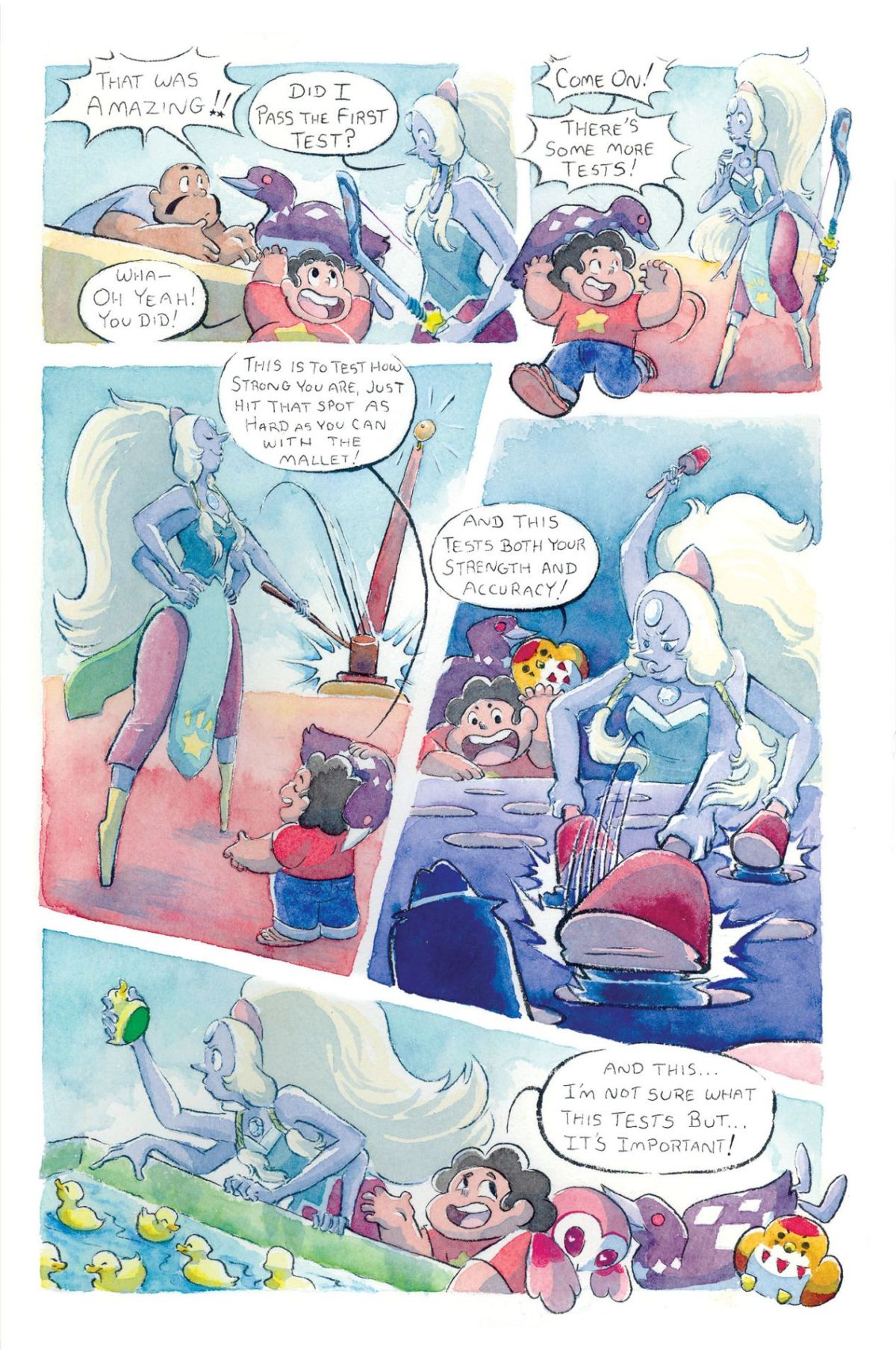 Opal follows Steven around Funland playing various carnival games.