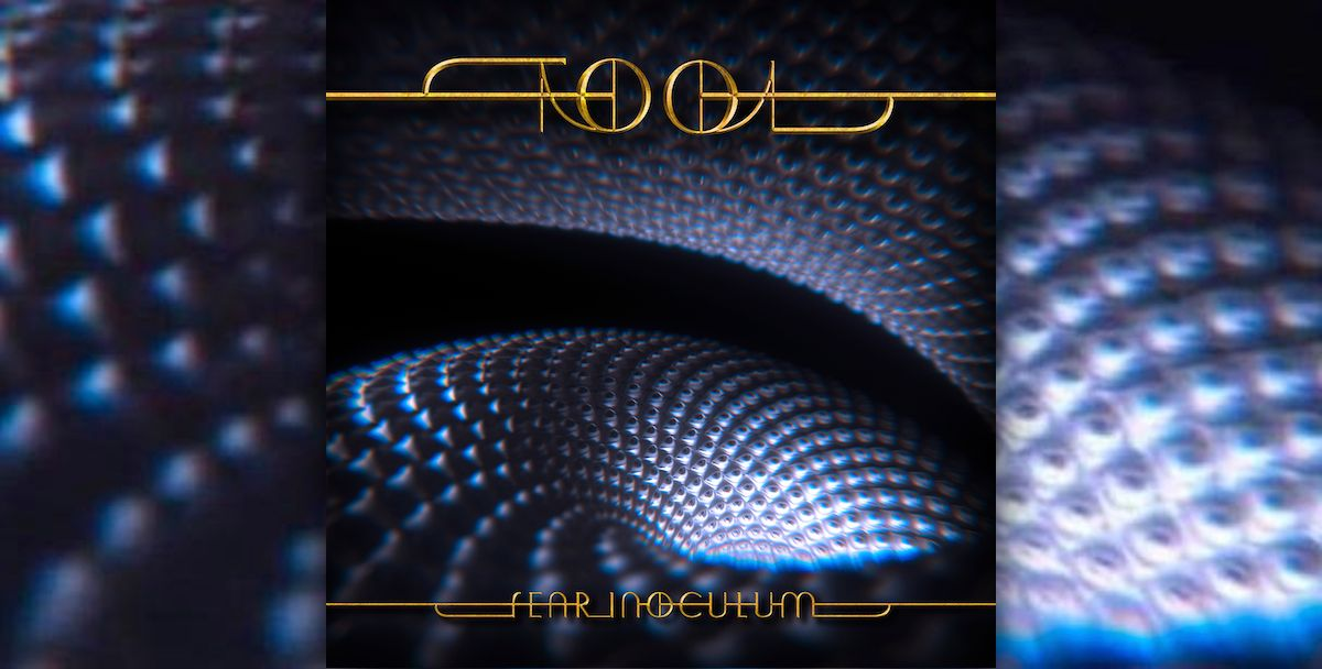 The album cover for Tool's 'Fear Inoculum' pictures a bluish, textured spiral accented with Tool's golden logo and album name.