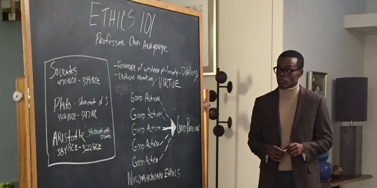 Chidi teaching ethical theories from Socrates, Plato, and Aristotle.