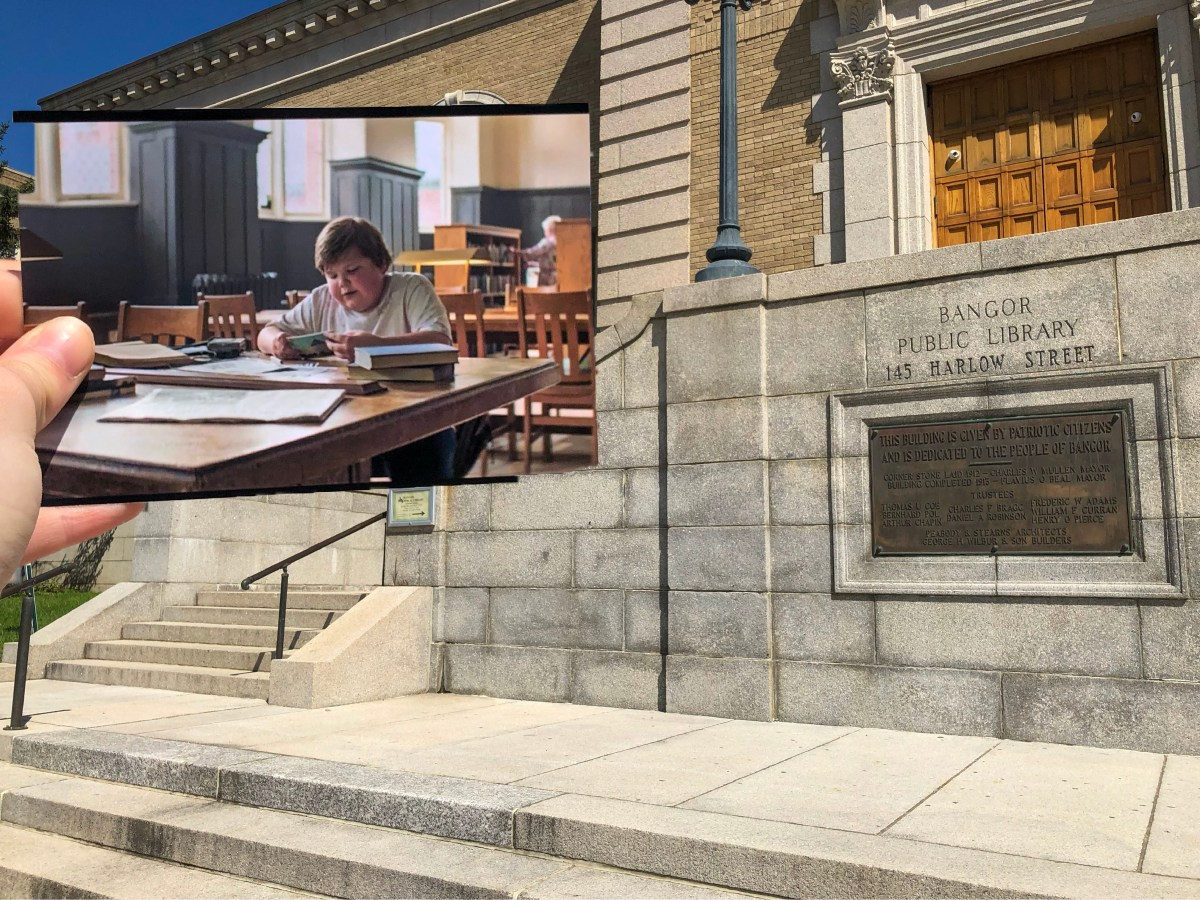 A photo taken from IT 1 of Ben Hanscom sitting in the Derry Library learning about Derry history put in the actual location that inspired the image.