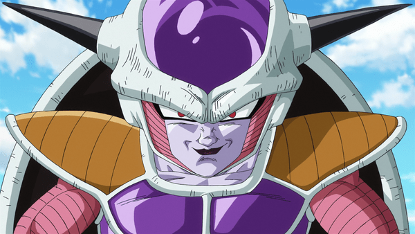 Freiza looking up through his purple helmet with black horns sticking out the sides. His eyes are red and he's smirking.