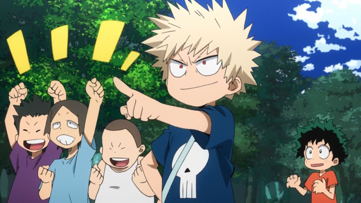 Bakugo pointing at something while a few friends cheer him on and with Midoriya standing back.