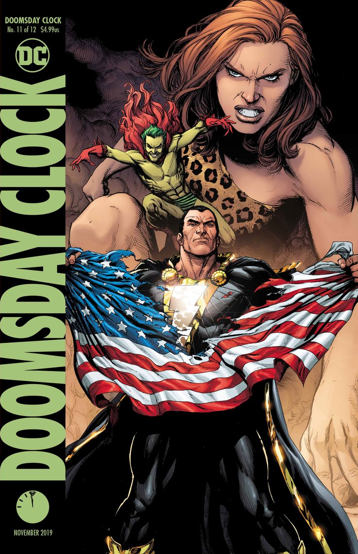 Doomsday Clock #11: Cover, Black Adam rips American Flag.