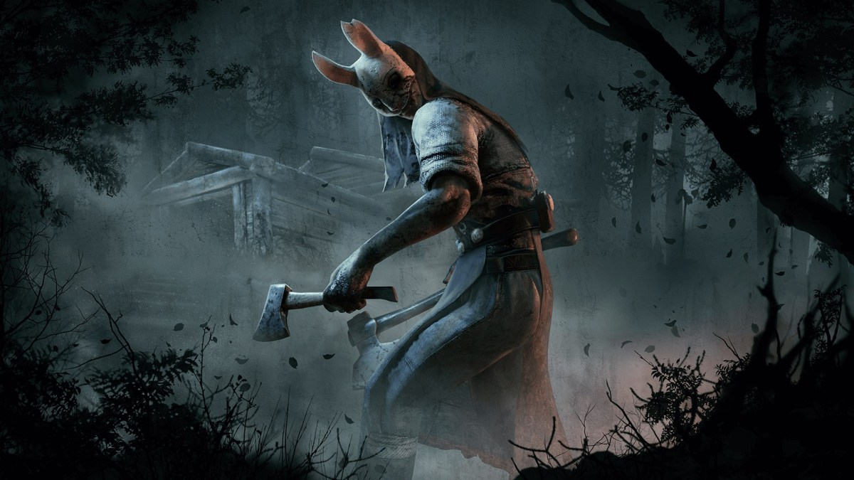 Woman in bunny mask holding two axes in a dark forest; Dead by Daylight: Horror Games