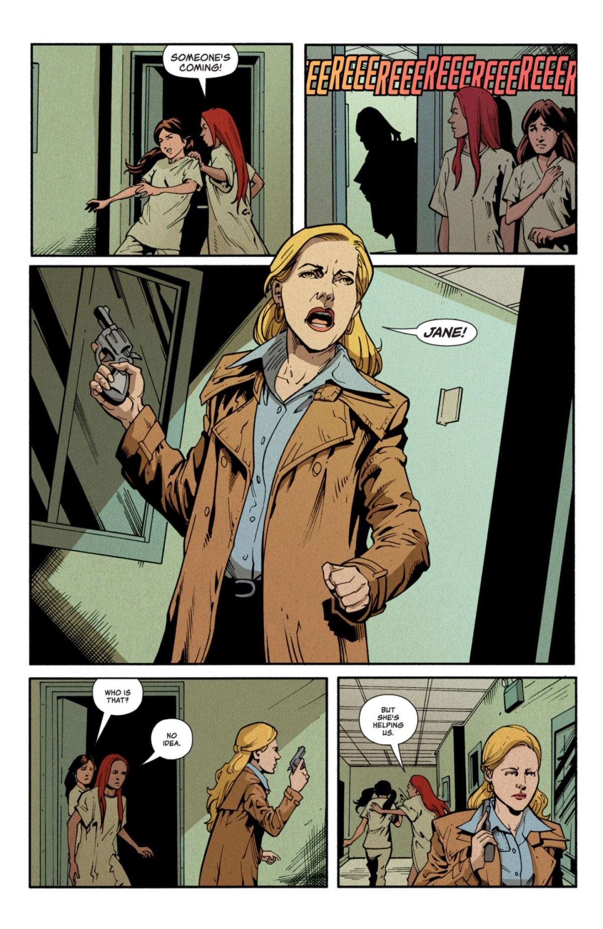 Stranger Things: Six #4: Page 12; Six and Control escaping.