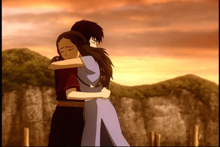 Zuko and Katara (Zutara) share a hug as Katara's feelings towards Zuko begin to change.