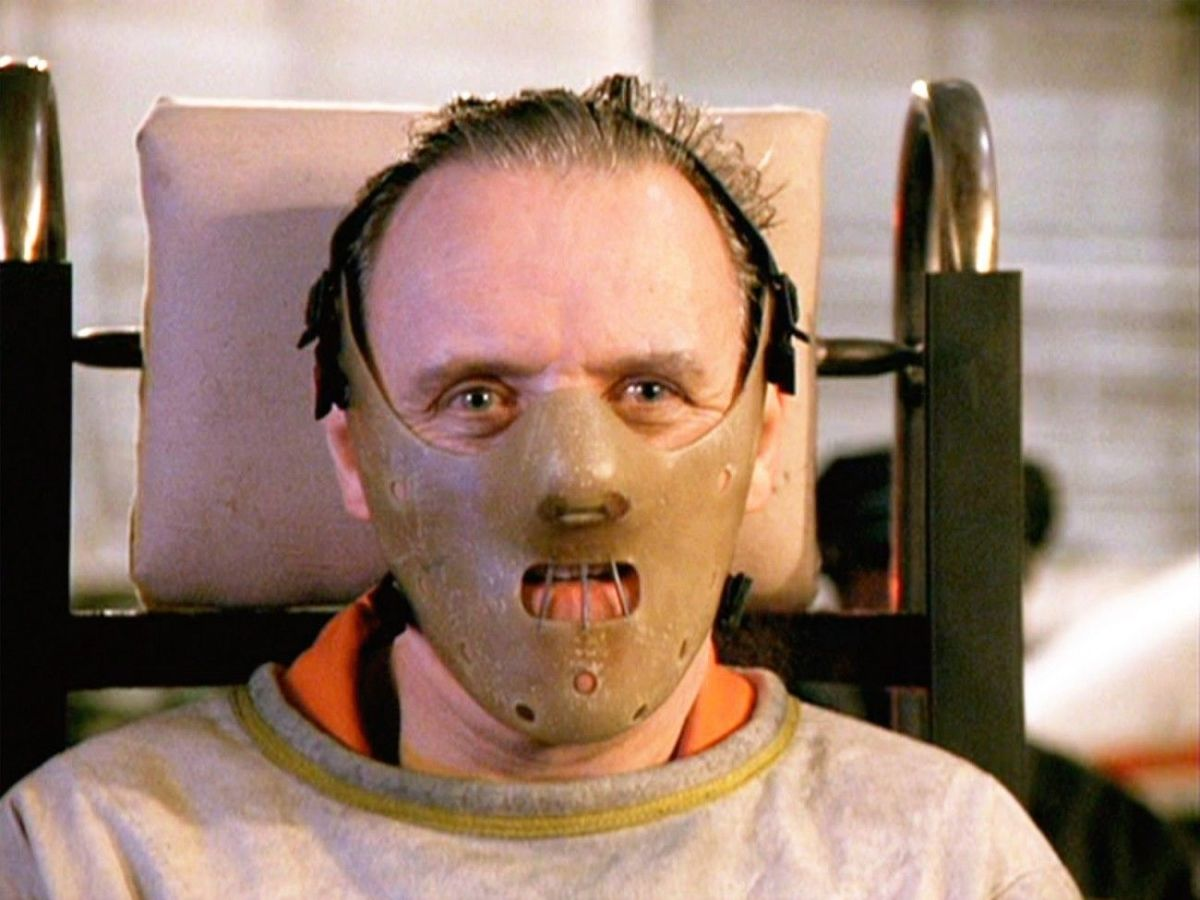 The masked character Hannibal Lecter wearing a lower face mask.