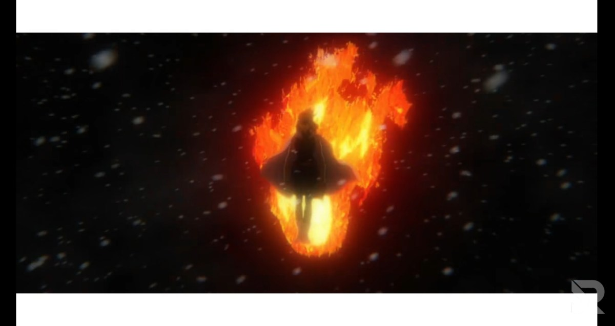 Nana Shimura walks toward us, enveloped in flame.