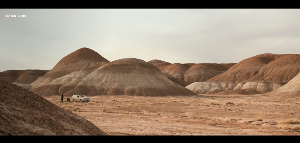 A wide-shot of a car in the distance, highlighting the New Mexico desert in El Camino.