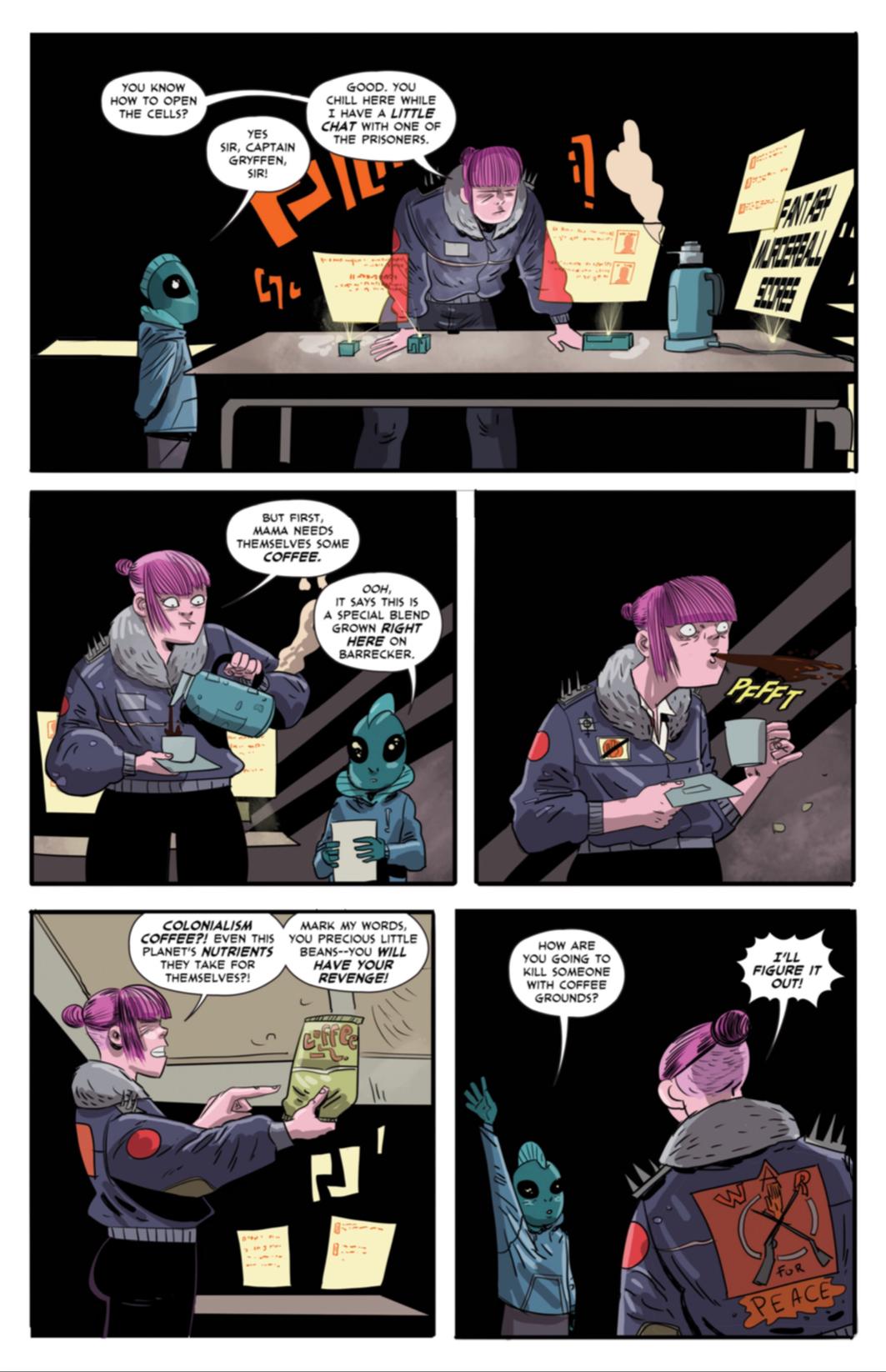 Gryffen: Galaxy's Most Wanted #8; page three: Gryffen gets a taste of colonialist coffee.