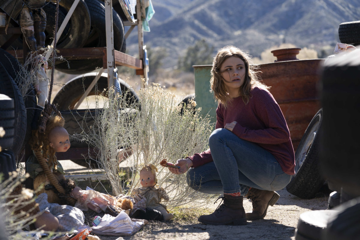 """Into The Dark -- """"They Come Knocking"""" - After losing his wife to cancer, a father takes his two daughters on a road trip where he finds his family in the crosshairs of terrifying supernatural entities. Claire (Josephine Langford), shown. (Photo by: Greg Gayne/Hulu)"""