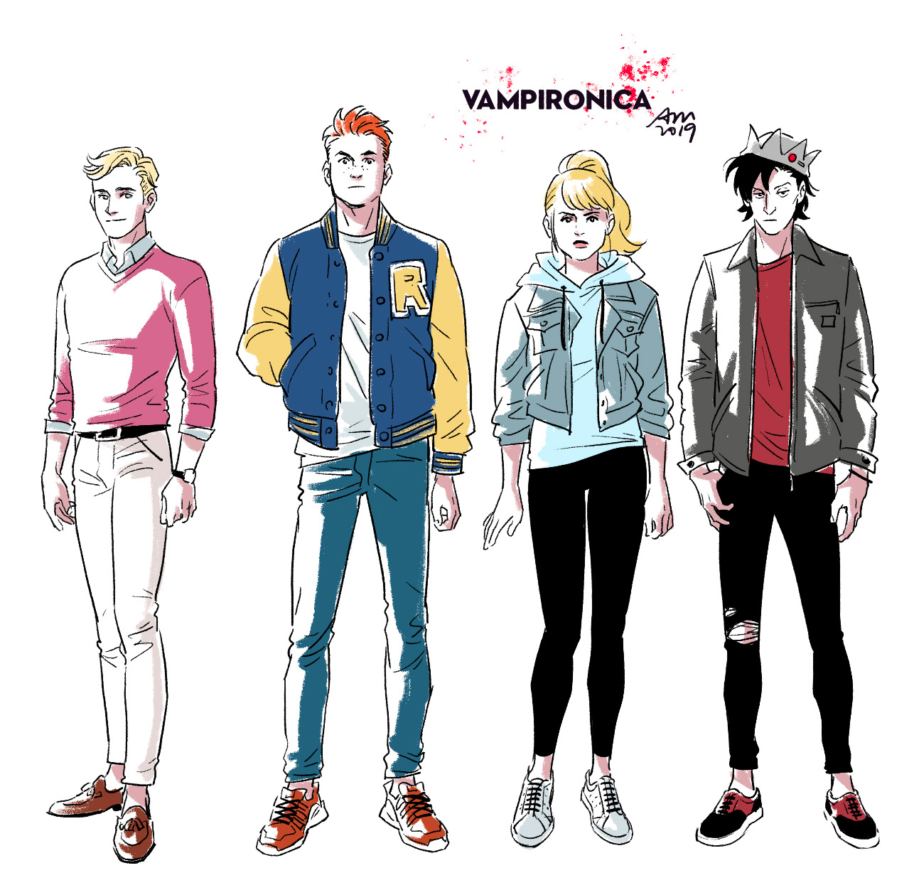 Drawings of the characters from the series, Archie Comics 2019.