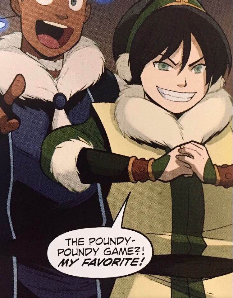Toph and Sokka in the AtLA comics.