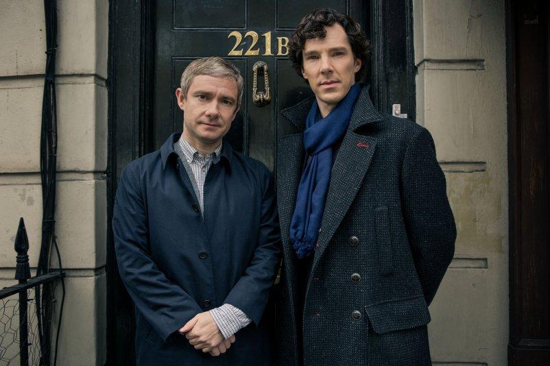 Friendships: Sherlock and John outside 221b Baker Street -- Arthur Conan Doyle's classic friendship.