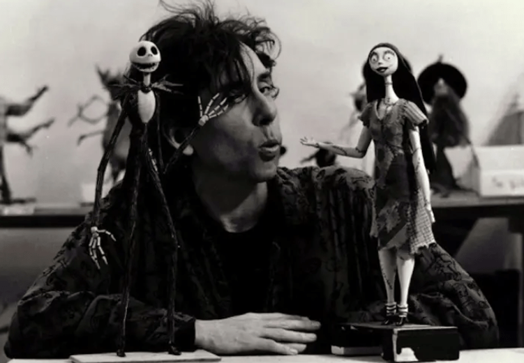 Tim Burton with Jack and Sally on the set of The Nightmare Before Christmas.