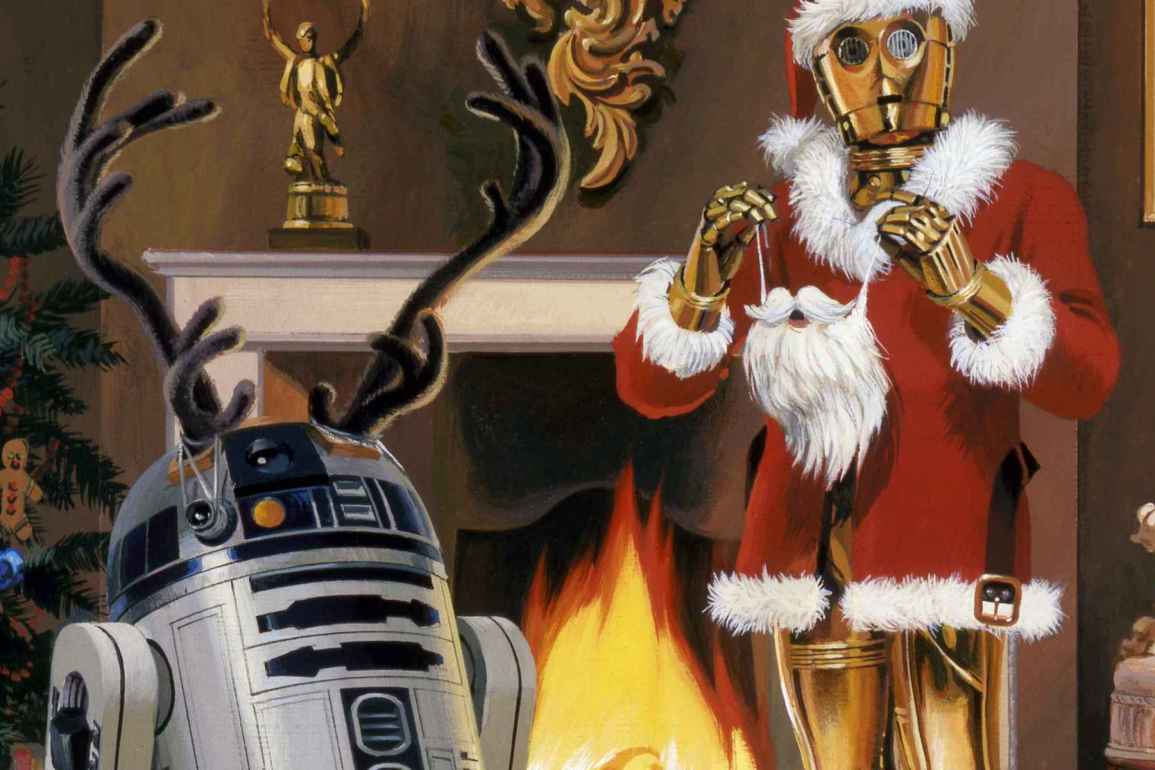 R2-D2 and CP30 in Holiday attire
