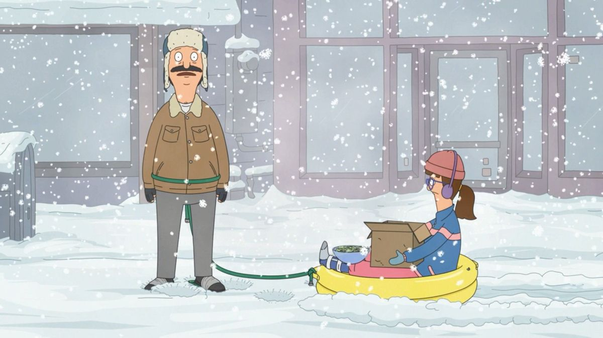 """In """"Bob's Burgers'"""" fourth Thanksgiving special, Bob rests from dragging Gayle and her cat through the snow."""