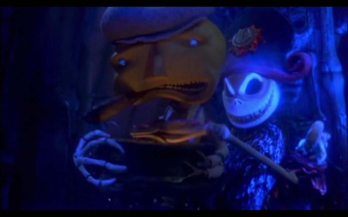 The Nightmare Before Christmas's Jack Skellington appearing in James and the Giant Peach, as a pirate captain
