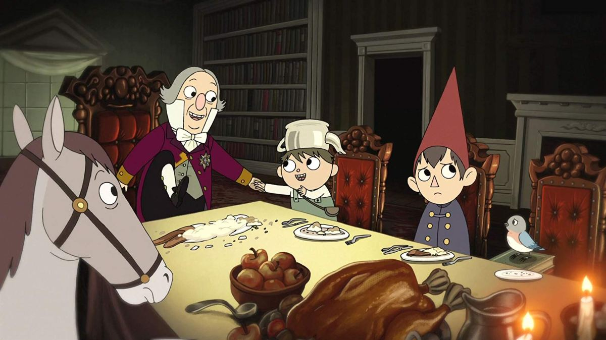 Greg, Wirt, Beatrice, and Fred the horse eating dinner with Quincy Endicott.