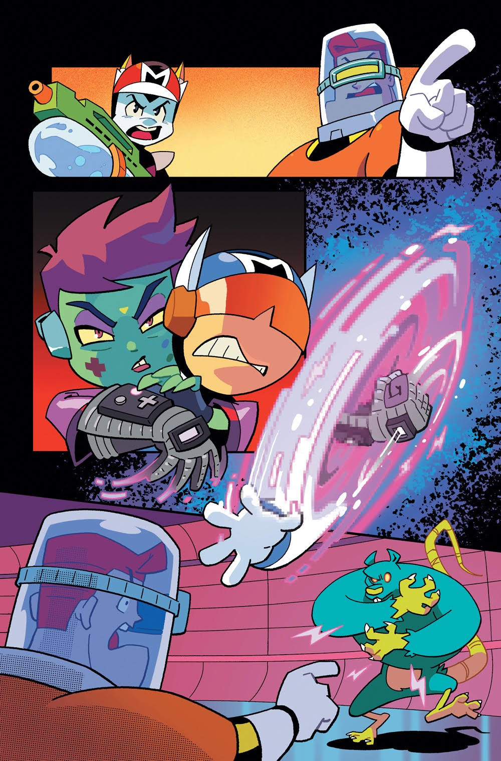 Cosmo the Mighty Martian: Page 19, Shih has a hold of Orbi.
