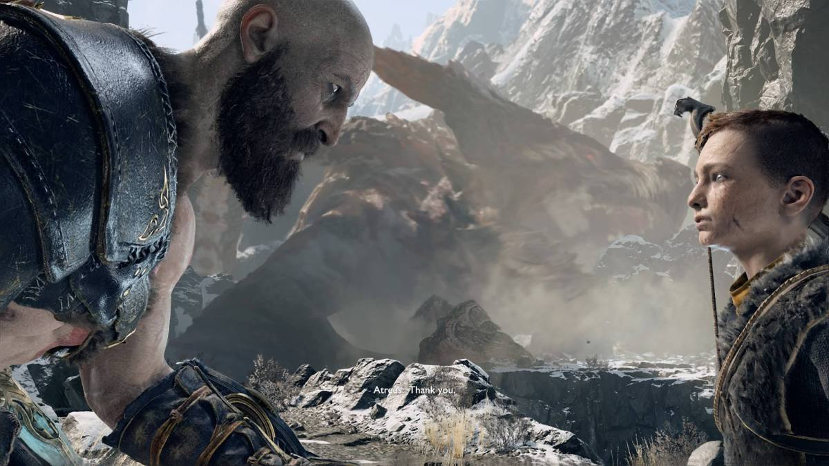 Parents: Kratos looking at his son, Atreus at eye level.