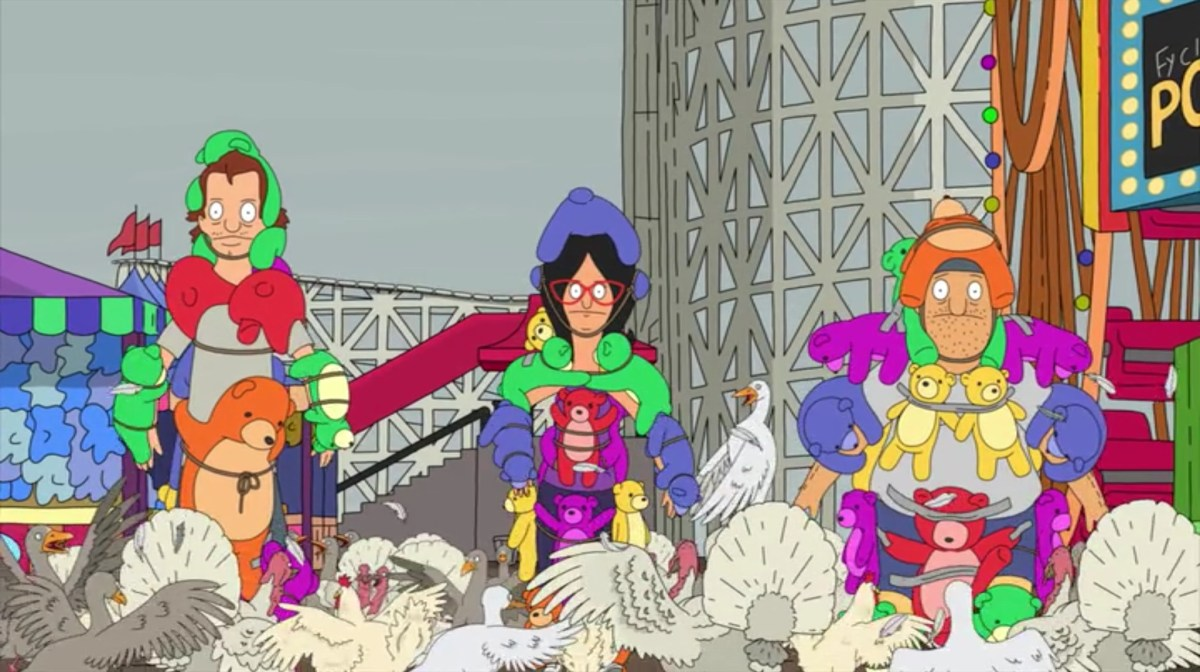 """In """"Bob's Burgers'"""" third Thanksgiving special, Mickey, Linda, and Teddy charge through the birds, wearing stuffed bears as armor."""