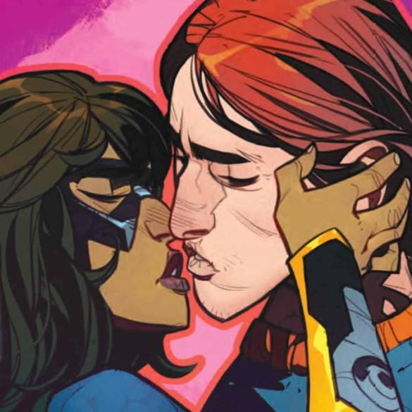 The Magnificent Ms Marvel #9: Kamala and Bruno are about to kiss.