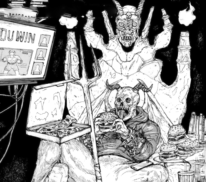 Chidaruma lounges in on his throne in Hell, eating various kinds of junk food on a cover page from Dorohedoro.