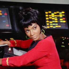 "LOS ANGELES - JANUARY 19: Nichelle Nichols as Lt. Nyota Uhura in the STAR TREK: THE ORIGINAL SERIES episode, ""Arena."" Original air date January 19, 1967. Image is a screen grab. (Photo by CBS via Getty Images)"