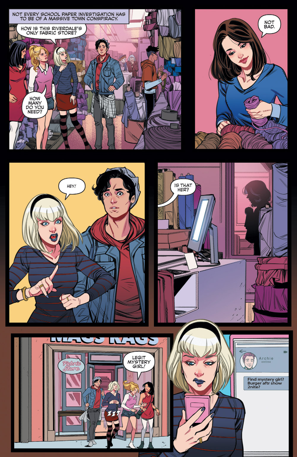 Jughead and the gang getting a glimpse of Katy in Archie and Katy Keene #1.