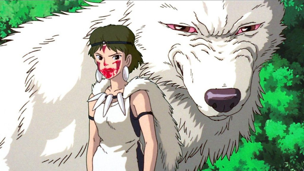 Princess Mononoke with blood on her face and Moro, the goddess of wolves behind her. Both with the same motivation, to protect the forest.