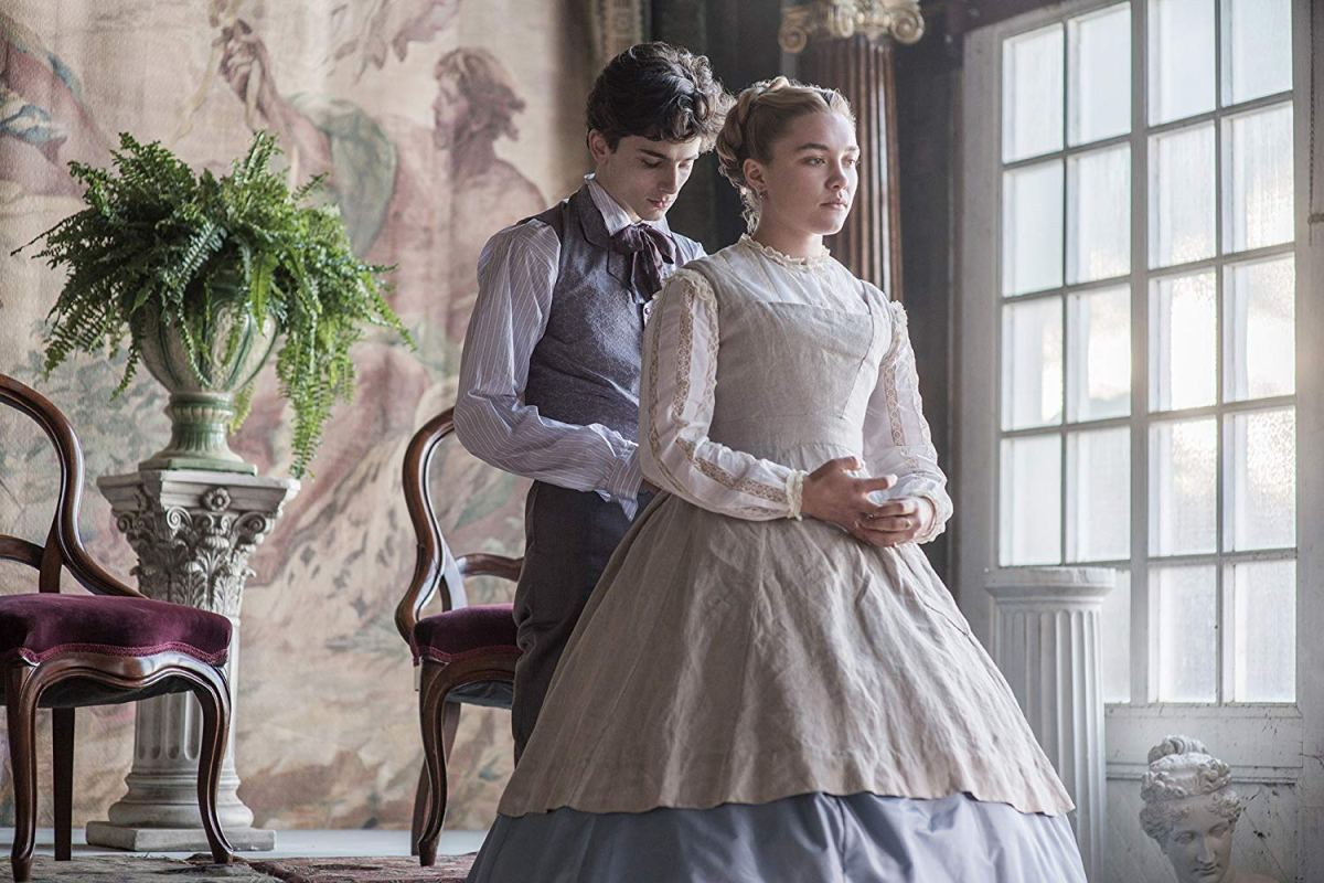Florence Pugh and Timothée Chalamet in Little Women