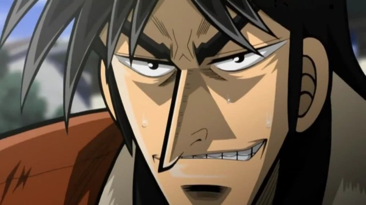 Close up of Kaiji smirking.