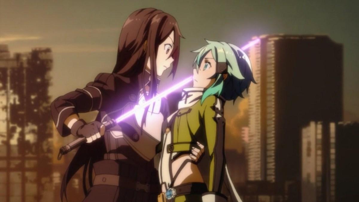 Kirito catches Sinon as she stumbles backwards, shocked by his power.