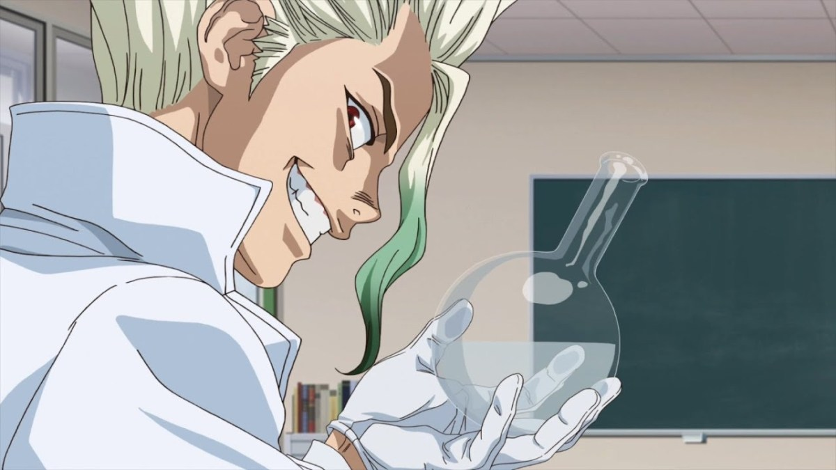 Senku in class holding up a labratory flask.
