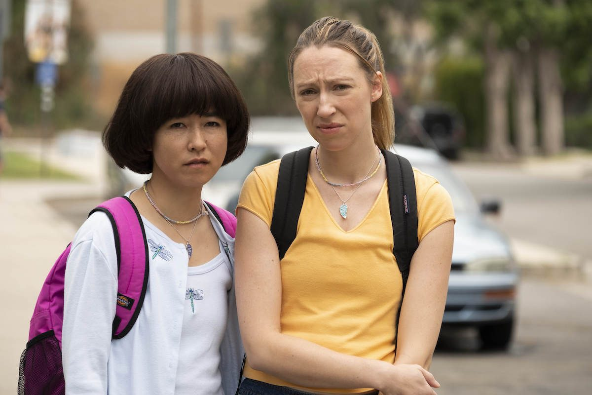 Maya Erskine and Anne Konkle dressed up as their younger selves looking miserable in the 2019 TV show PEN15.