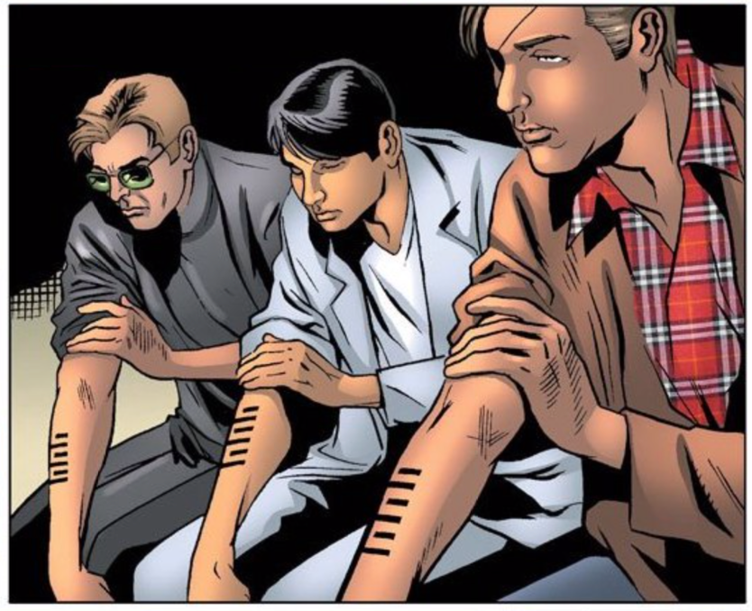 Snake Eyes, Storm Shadow, and Billy kneeling and revealing their Arashikage tattoos on their forearms. They are all in civilian clothing.