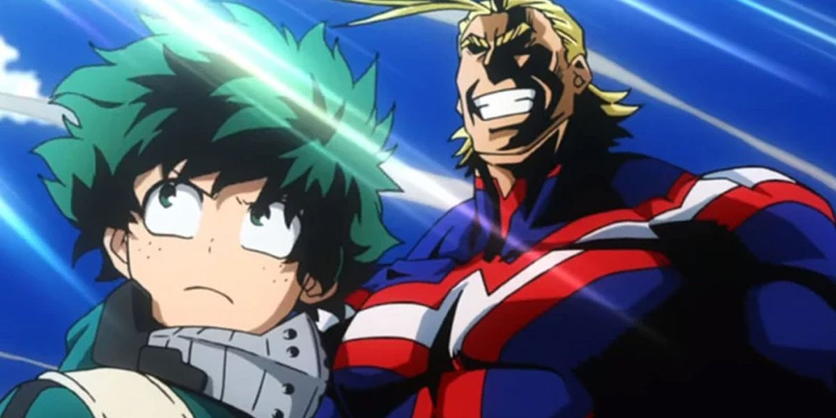 Izuku stares off into the distance. All Might, Izuku's motivation for becoming a hero, stands behind Izuku.