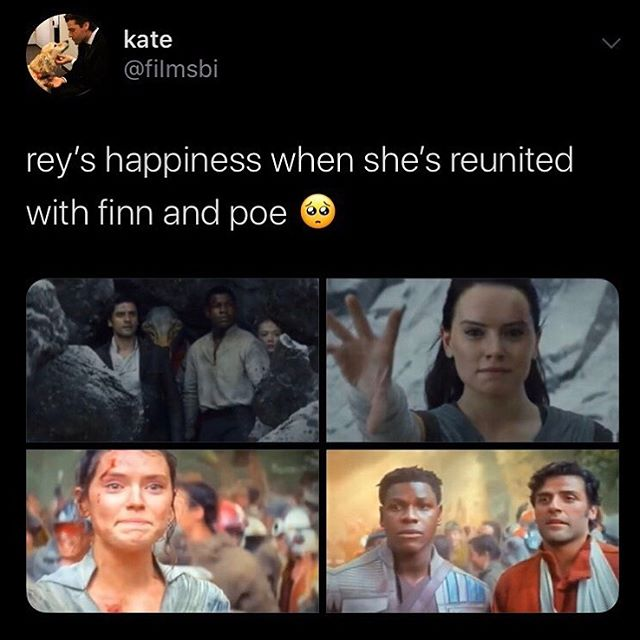 """Screenshot of a Tweet captioned """"rey's happiness when she's reunited with finn and poe"""" showing shots from The Last Jedi and The Rise of Skywalker that showcase JediStormPilot reunions"""
