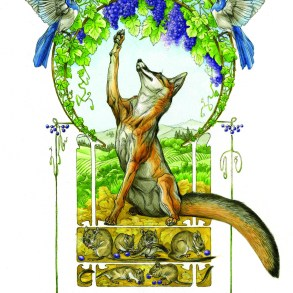The fox attempting to reach the grapes.