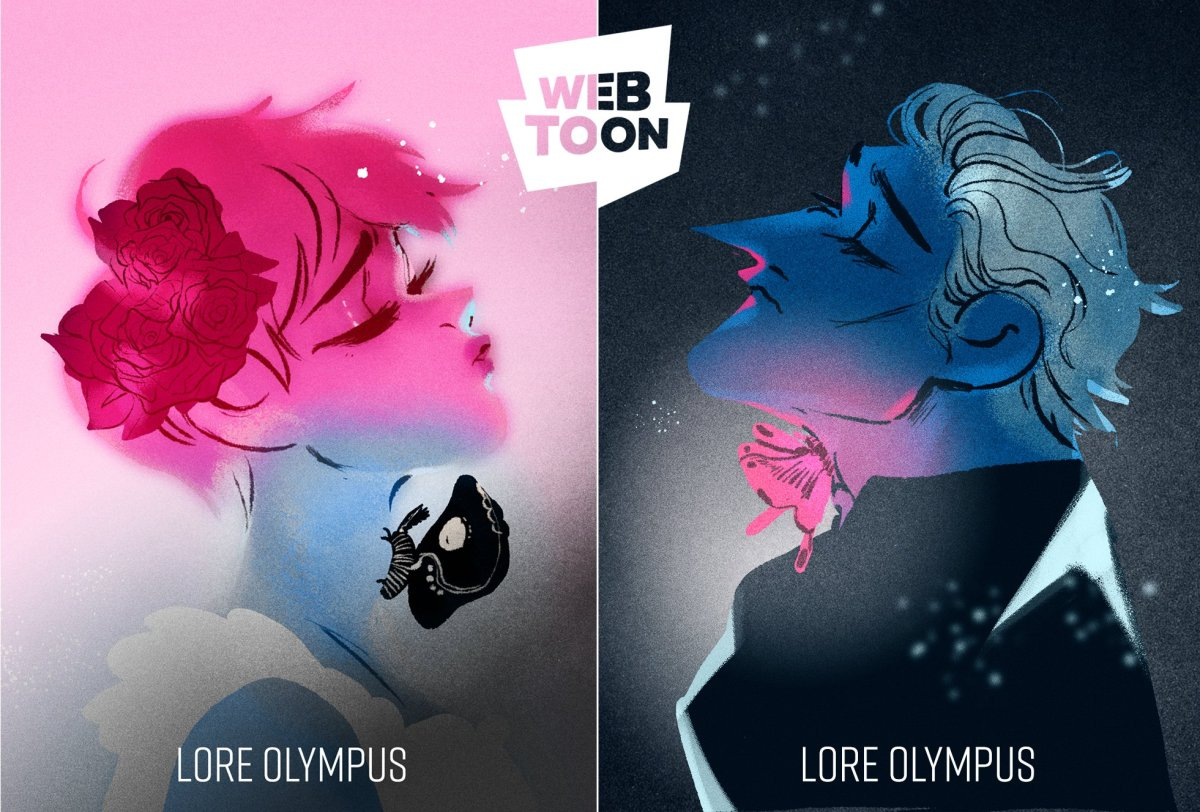 Persephone one side and Hades on the other. Representing the Lore Olympus Webtoon