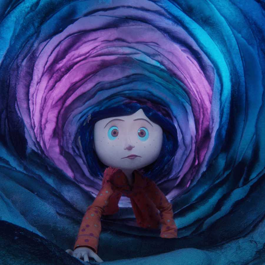 Coraline heading into the world where people have buttons for eyes.