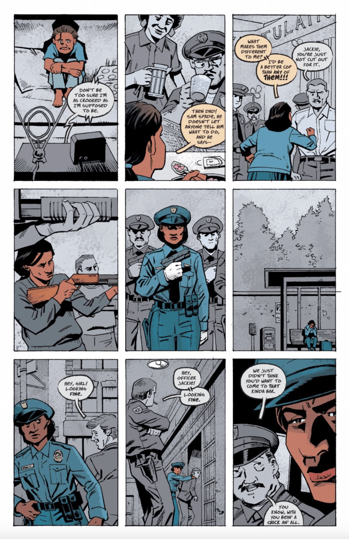 Page 74 of Killer Groove, where Jackie's inspired but difficult journey to becoming a police officer is shown.