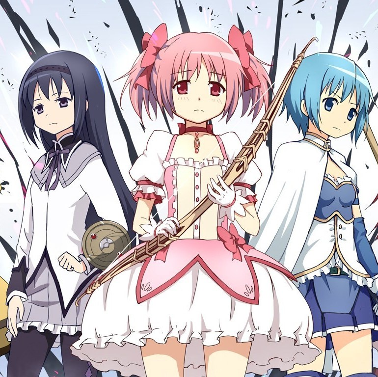Line up of the team of magical girls from Madoka.