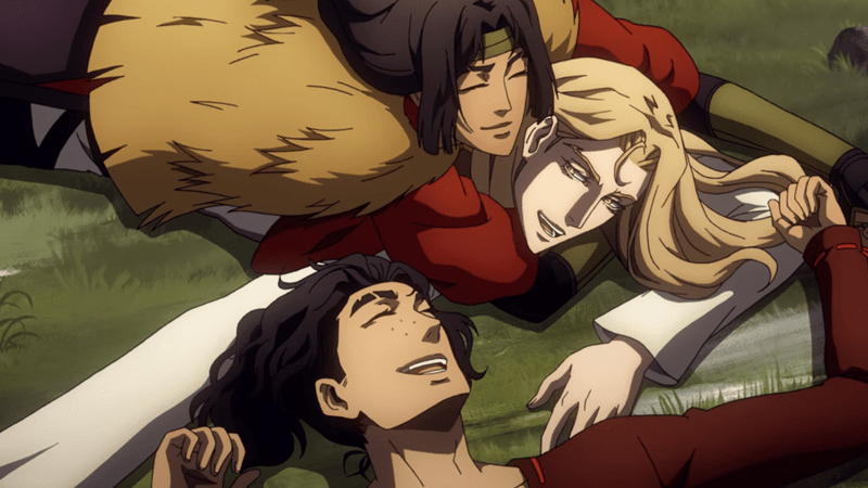 Alucard rolling in the grass with Taka and Sumi as they talk about eating lunch. Alucard is grateful to no longer be alone.