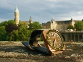 Of the wrist: the BR03-92 Green Bronze Diver in the evening light after a strong rain
