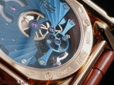 The tourbillon bridge visible on the back of the watch
